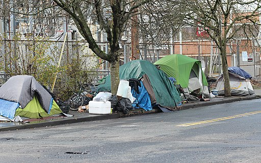 Northeast Portland homeless camp tents