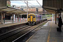 Northern Rail Class 158, 158755, platform 2, Preston railway station (geograph 4499579).jpg