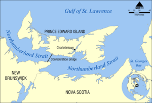 Northumberland Strait - Map of the Northumberland Strait.
