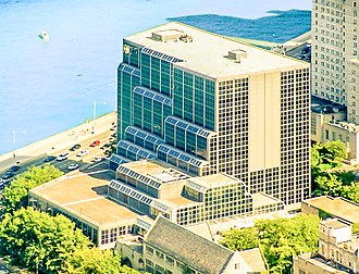 Northwestern University Pritzker School of Law - The modern Rubloff Building is the largest building on the Northwestern Law section of the Chicago campus.  Overlooking Lake Michigan, the building contains the law library, an atrium, a cafe, and a courtyard. It is also home to the school's many legal clinics and law journals.