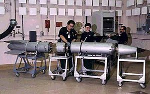 A B61 bomb undergoing disassembly.