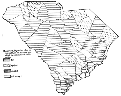 Nullification Controversy in South Carolina - Map VIII.—House vote on the test oath, 1832.png