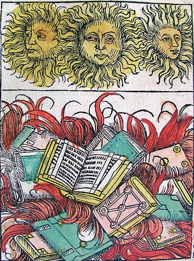 Nuremberg chronicles - Suns and Book Burning (XCIIv).jpg