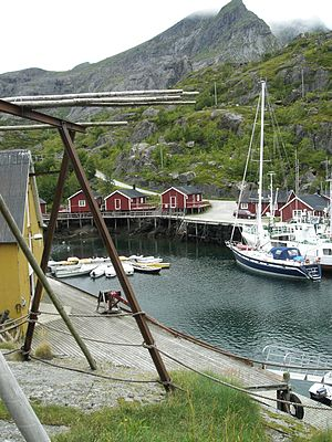 Flakstad - Nusfjord is a small harbor with traditional rorbus.
