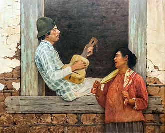 Folk instrument - Violeiro playing, by Almeida Júnior. The viola caipira is a Brazilian folk instrument.