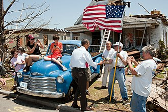 History of the United States (2008–present) - President Barack Obama greets survivors of the devastating 2011 Joplin tornado.
