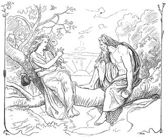 Sága and Sökkvabekkr - Sága and Odin converse while holding cups in an illustration (1895) by Lorenz Frølich.