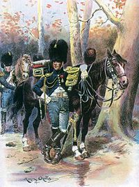 Officier des grenadiers à cheval de la Garde en tenue de route. Illustration de Maurice Orange, 1901.