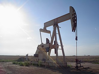 Petroleum - Pumpjack pumping an oil well near Lubbock, Texas.
