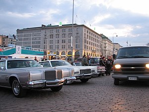 Market Square, Helsinki - Old American cars at the Market Square on the first Friday of May.