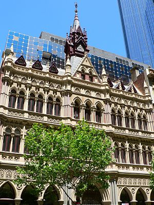 Facadism - The Olderfleet buildings on Collins Street, Melbourne were preserved up to 10 metres with a new heritage-sensitive tower design rising behind