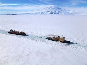 Icebreaker - Russian icebreaker ''Krasin'' leading an American supply ship into McMurdo Station, Antarctica