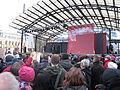 Organizers speak at demonstration against Swedish migration policy in Stockholm.JPG