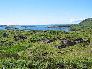 Highland Clearances - Ormaig was once the principal settlement on the Isle of Ulva near Mull. It had been inhabited since prehistoric times, until it was cleared by Francis William Clark in the mid-19th century.
