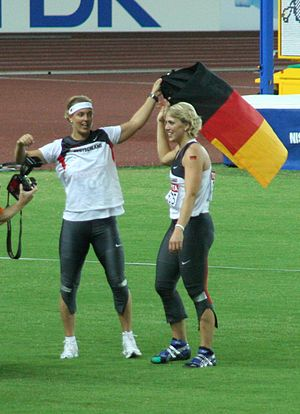 Christina Obergföll - Steffi Nerius and Obergföll celebrating at the 2007 World Championships.