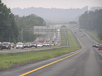 Interstate 83 - Traveling south on I-83 in Baltimore County, with congestion on the northbound side