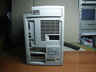 Power Macintosh G3 - Back of a tower G3. This unit is fitted with the Whisper personality card that lacks analog video capture facilities.