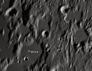 """Palisa (crater) - Palisa crater and its satellite craters taken from Earth in 2012 at the University of Hertfordshire's Bayfordbury Observatory with the telescopes Meade LX200 14"""" and Lumenera Skynyx 2-1"""