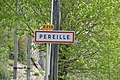 Panneau d'agglomération, Péreille.jpg