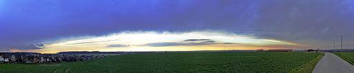 Panorama-Sonnenuntergang bei Königswalde