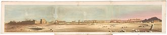Lady Strangford - Color lithograph panorama of Palmyra, Syria by Nicholas Hanhart after Emily Anne Beaufort Smythe, 1862.