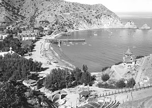 Island Mountain Railway - Image: Panoramic view of the harbor and Avalon city, Santa Catalina Island, ca.1914 (CHS 5435) (cropped)