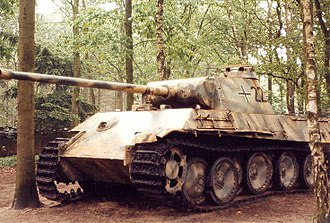 Overloon War Museum - A German Panther tank, a veteran of the battle of Overloon, on exhibition
