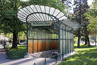 Paris Métro - Hector Guimard's original Art Nouveau entrance of the Paris Métro at Porte Dauphine station