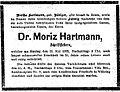 Parte Moritze Hartmanna publikované 14.5.1872 ve vídeňském tisku Die Presse.jpg
