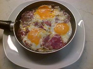 Pastirma - Pastırma with three eggs, a common Turkish breakfast dish