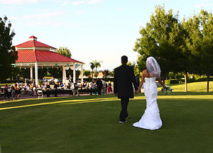 The Big Fresno Fair - Wedding being performed in the Pavilion at the Fresno Fairgrounds