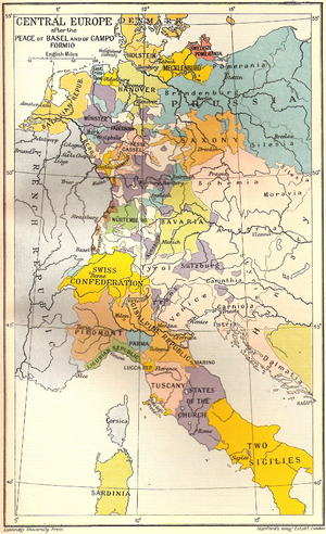 Peace of Basel - Map shows Central Europe after the Peace of Basel and the Treaty of Campo Formio.