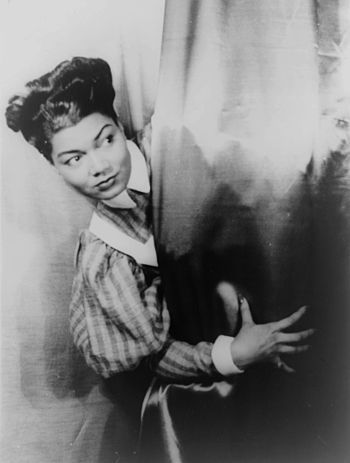 photograph of Pearl Bailey following a perform...