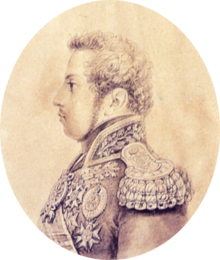 Half-length pencil or silverpoint sketch showing a young man with curly hair and long sideburns facing left who is wearing an elaborate embroidered military tunic with heavy gold epaulets, sash and medals