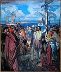 Peinture dans la cathédrale de Gaspé montrant l'arrivée de Jacques Cartier à Gaspé en 1534.JPG