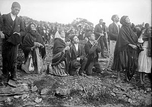 "Fátima, Portugal - A close-up of the Christian pilgrims during the ""Miracle of the Sun"" on 13 October 1917."