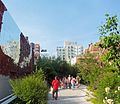People walking on the High Line near W 18th St, June 2013.jpg