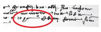 Percent sign - 1425 arithmetic text in Rara Arithmetica pg. 440