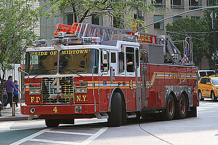 A typical FDNY ladder company, also known as a truck. Pictured is an aerial ladder truck operated by Ladder Co. 4, quartered in Manhattan. Peter Stehlik - FDNY Ladder 4 - 2012.05.23.jpg