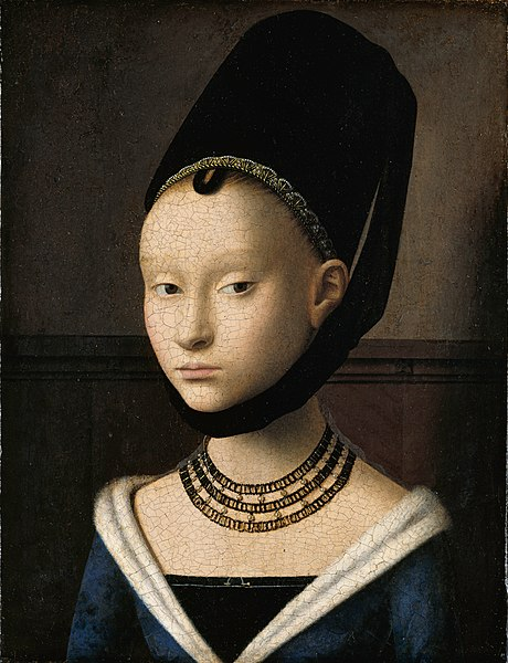 Direct link from Wikipedia / Portrait of a Young Woman, Petrus Christus, c. 1470. Gemäldegalerie, Berlin