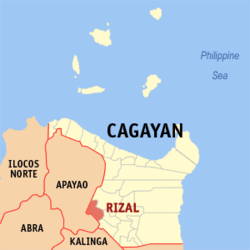 Map of Cagayan, showing the location of Rizal