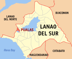 Map of Lanao del Sur with Pualas highlighted