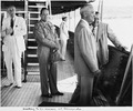 Photograph taken during the vacation cruise of President Harry S. Truman to Bermuda. President Truman (fourth from... - NARA - 198628.tif
