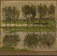 Piet Mondriaan - Row of eight young willows reflected in the water - 0333466 - Kunstmuseum Den Haag.jpg