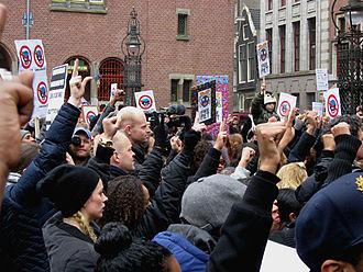 Zwarte Piet - Demonstrators at an anti-Zwarte Piet protest in Amsterdam in November 2013