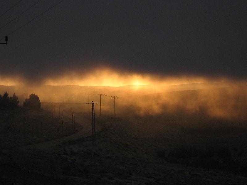זריחה לוטה בערפל