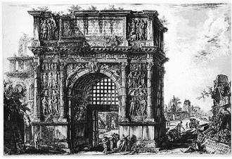 Benevento - The Arch of Trajan, provided with a portcullis, as it appeared in the 18th century, etching by Giovanni Battista Piranesi. Some of the bas-reliefs are now in the British Museum.