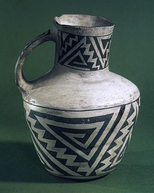 Pitcher (container) - Pitcher with Black on White Geometric Designs, Anasazi (Native American), 900-1300 C.E. Brooklyn Museum