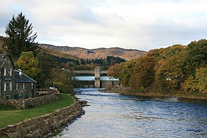 Tummel hydro-electric power scheme - Pitlochry hydro-electric power station and River Tummel.