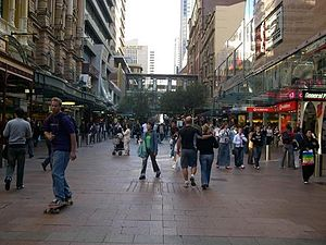 Westfield Sydney - Pitt Street Mall in 2007 (to the left is Imperial Arcade and Sydney Central Plaza and to the right is Westfield Centrepoint)